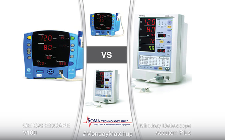 GE CARESCAPE V100 vs Mindray Datascope Accutorr Plus - Patient Monitor Comparison - Soma Technology, Inc.